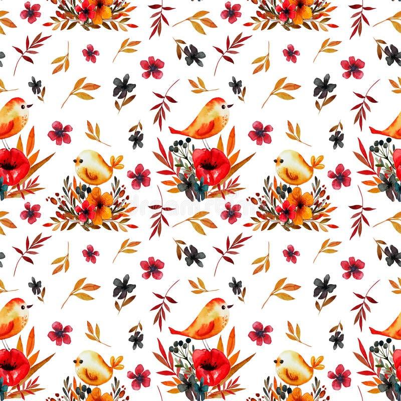 Fältblommakort med fåglar stock illustrationer