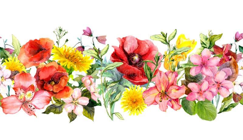 Fältet blommar, sommargräs och sidor Upprepa horisontalgränsen vattenfärg stock illustrationer