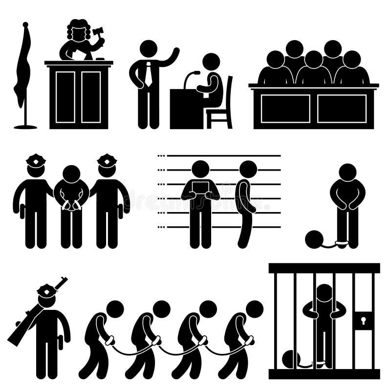 fängelse för advokat för lag för domstolarrestdomare stock illustrationer