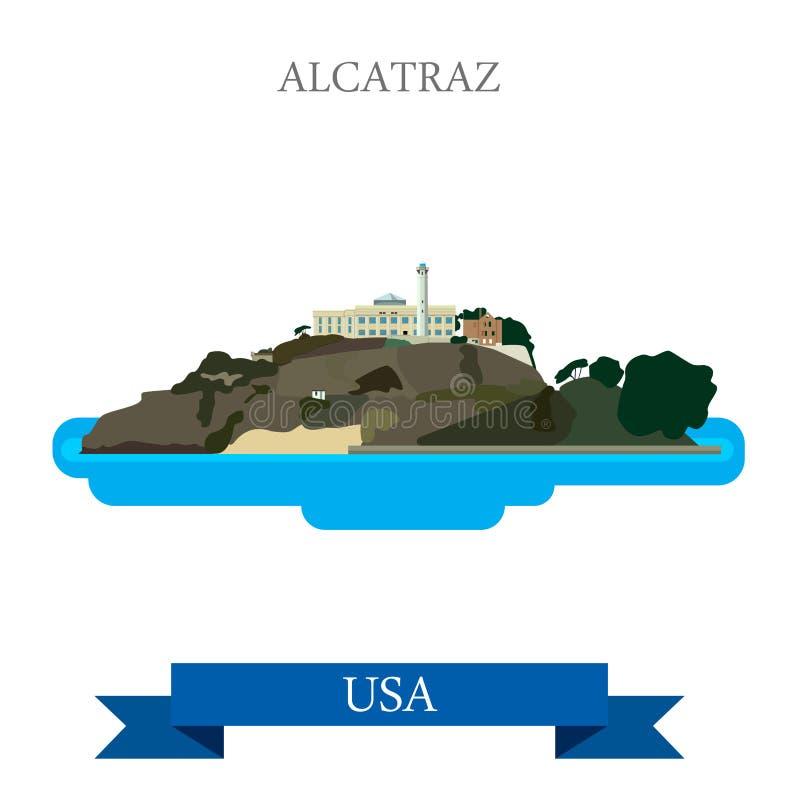 Fängelse för Alcatraz ö i San Francisco United Sta royaltyfri illustrationer