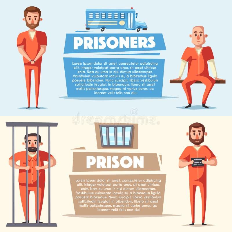 Fängelse med fången Teckendesign den främmande tecknad filmkatten flyr illustrationtakvektorn royaltyfri illustrationer