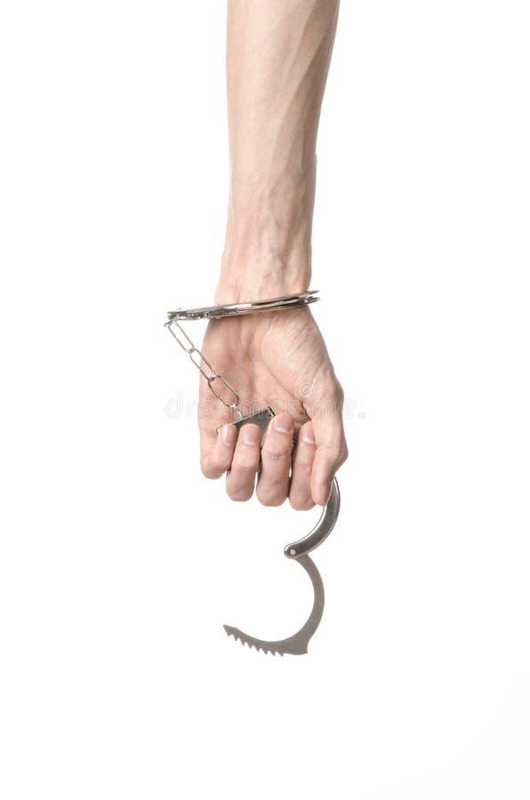 Fängelse och beslagit ämne: manhänder med handbojor som isoleras på royaltyfri fotografi