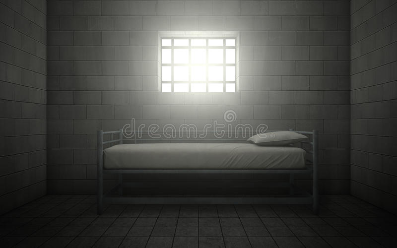 Fängelsecell med ljust skina till och med ett gallerförsett fönster royaltyfri illustrationer
