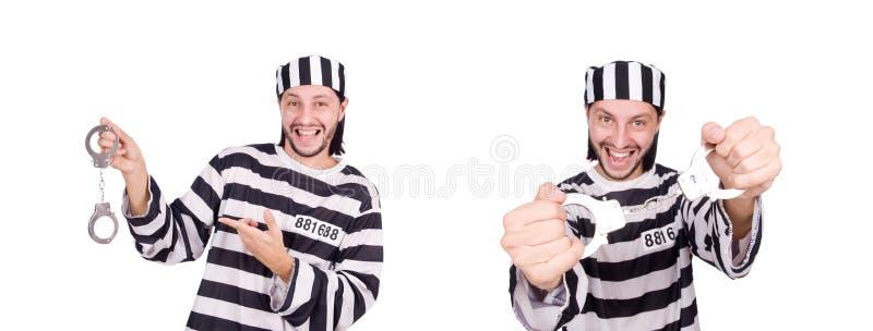 Fängelseintagen som isoleras på den vita bakgrunden arkivfoto
