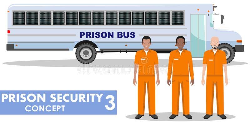 Fängelsesäkerhetsbegrepp Detaljerad illustration av fängelsebussen och fångar på vit bakgrund i plan stil också vektor för coreld royaltyfri illustrationer