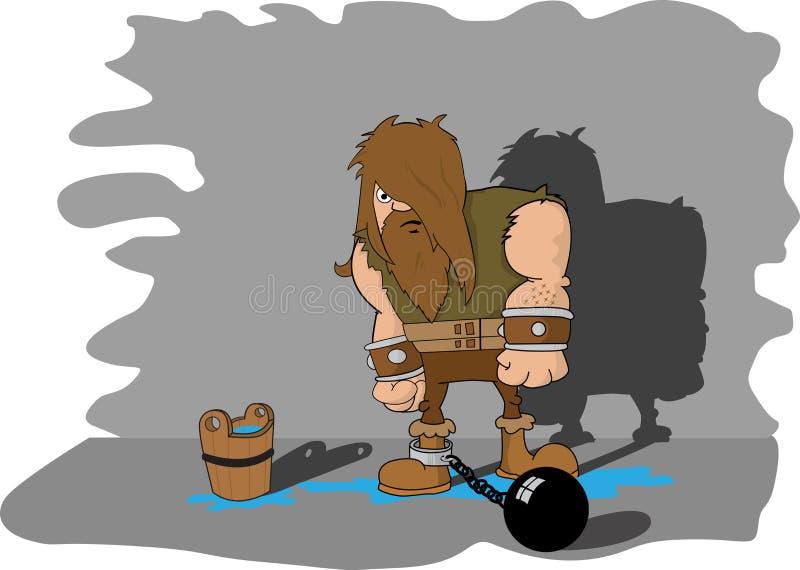fängslad man för dungeon vektor illustrationer