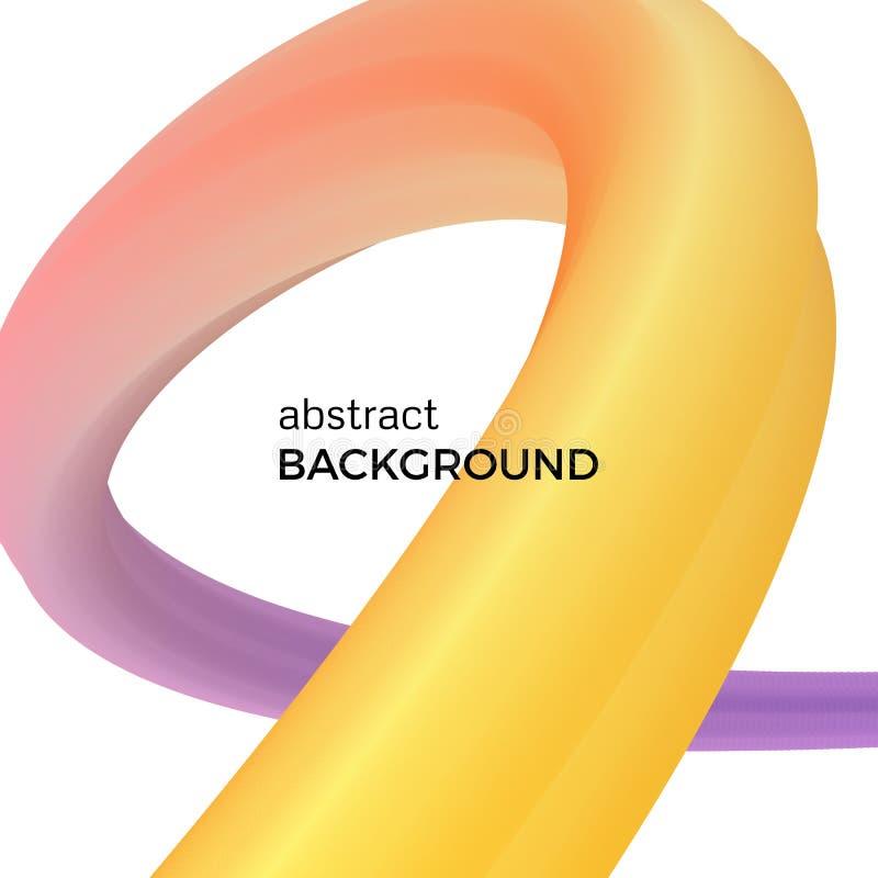 Färben Sie abstrakte Zusammensetzung der gelben und purpurroten Aquarellwellen stock abbildung