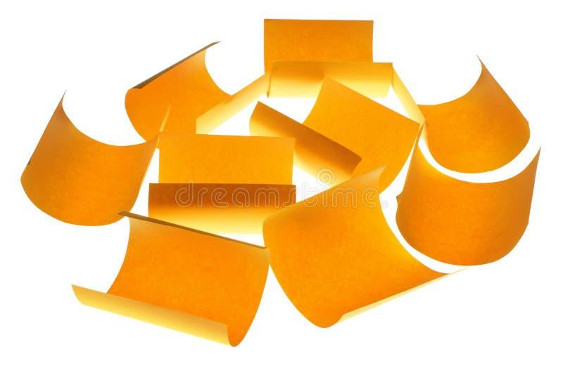 Färben Sie Anmerkungs-Papiere gelb lizenzfreies stockfoto