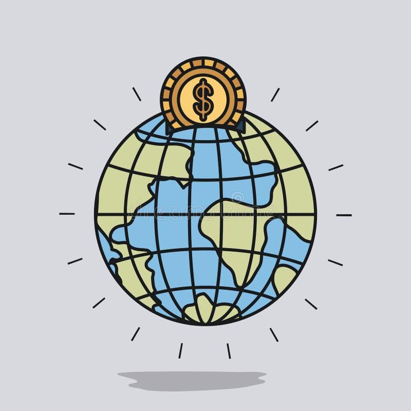 Färben Sie Bildhintergrund mit Geldkasten in der Kugelerdweltform mit goldener Münze lizenzfreie abbildung