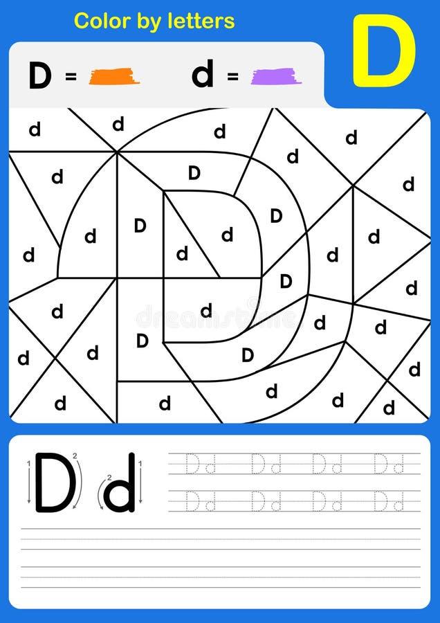 Färben Sie brieflich Alphabetarbeitsblatt - Farbe und Schreiben vektor abbildung