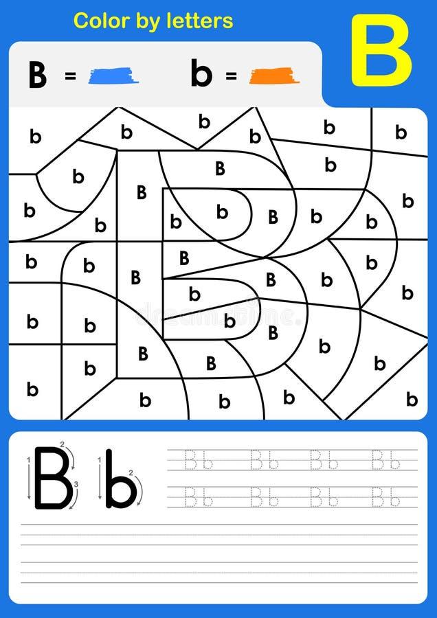 Färben Sie brieflich Alphabetarbeitsblatt - Farbe und Schreiben stock abbildung