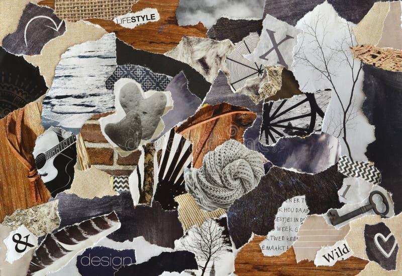 Färben Sie das graue, braune und schwarze Lebensstil Atmosphärenstimmungsbrett-Collagenblatt, das von heftigen Zeitschriftenpapie stockbilder