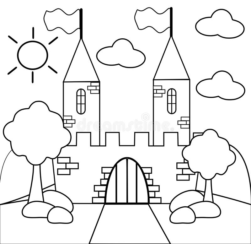 Färben Sie das Schloss vektor abbildung