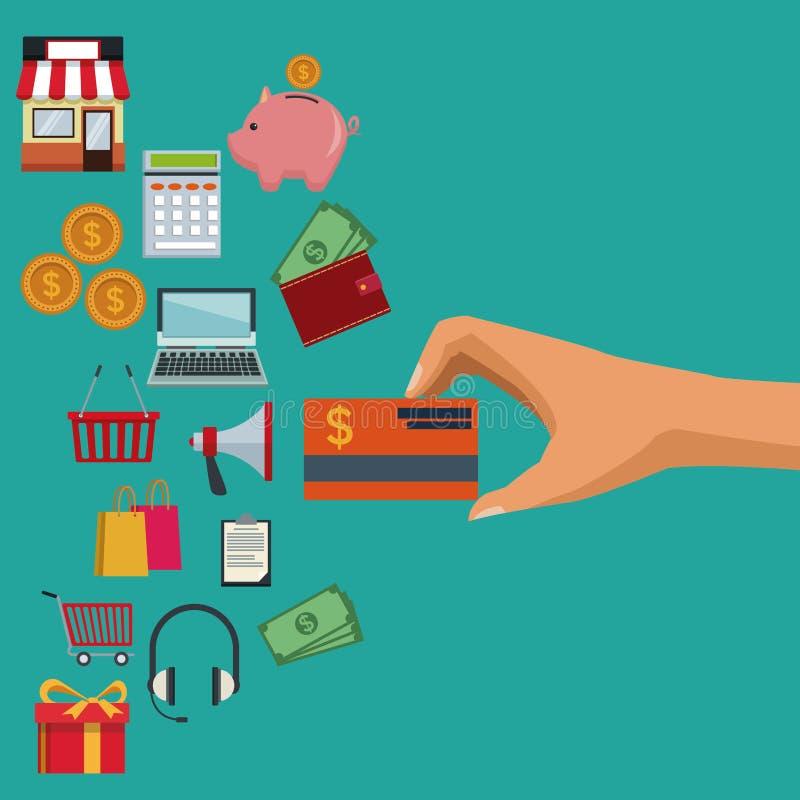 Färben Sie den Hintergrund der Hand eine Kreditkarte und Ikonenelemente des on-line-Einkaufens halten lizenzfreie abbildung