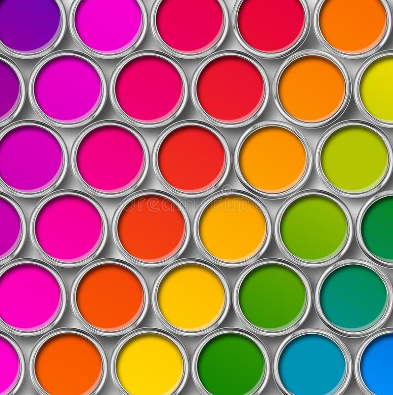 Färben Sie Draufsicht der LackBlechdosen stockbild