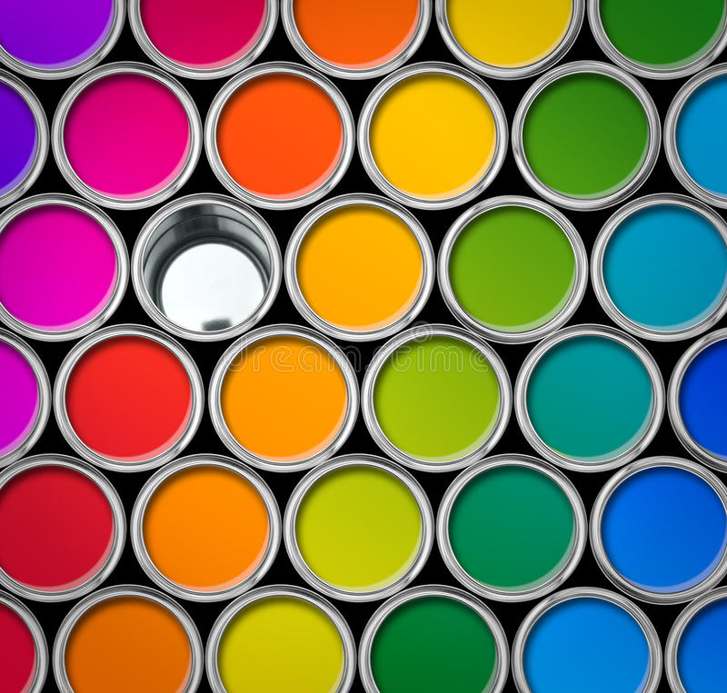 Färben Sie Draufsicht der LackBlechdosen lizenzfreie stockbilder