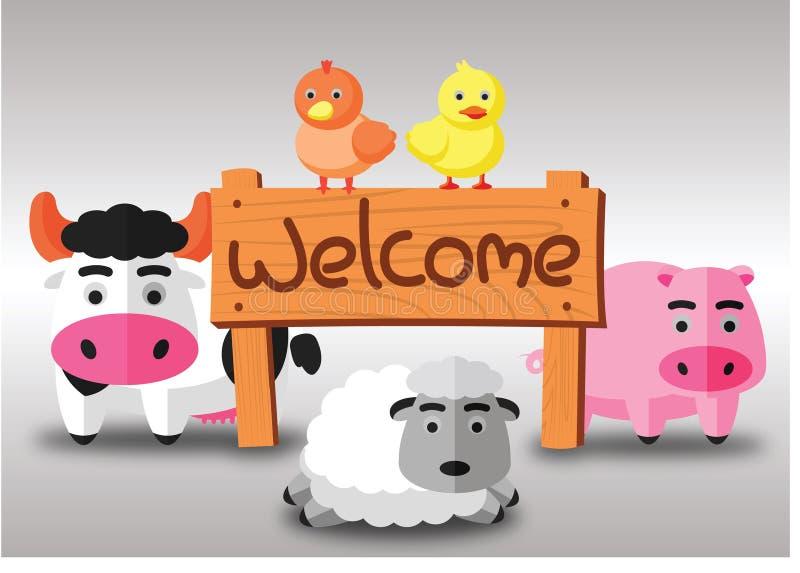 Färben Sie flachen Bauernhof der Kuhschwein-Hennenente und Schafe stehen auf dem grünen Gebiet mit willkommenem hölzernem Brett p lizenzfreie abbildung