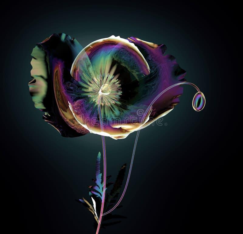 Färben Sie Glasblume lokalisiert auf Schwarzem, die Mohnblume vektor abbildung