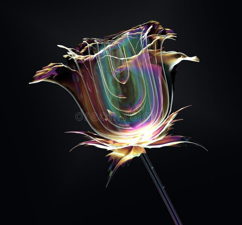 Färben Sie Glasblume lokalisiert auf Schwarzem, die Rose stock abbildung