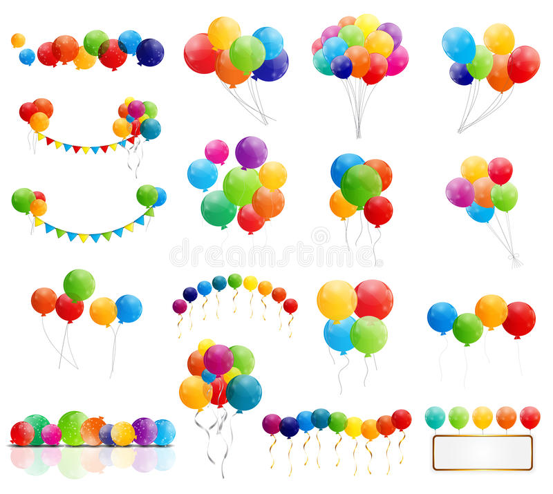 Färben Sie glatte Ballon-Mega- Satz-Vektor-Illustration vektor abbildung