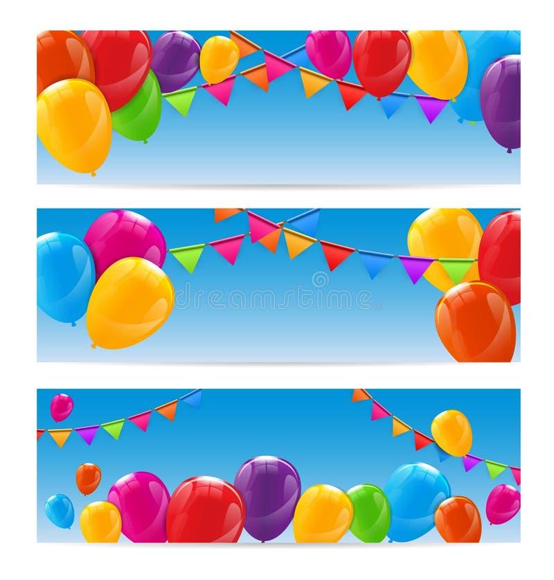 Färben Sie glatten alles- Gute zum Geburtstagballon-Fahnen-Hintergrund lizenzfreie abbildung