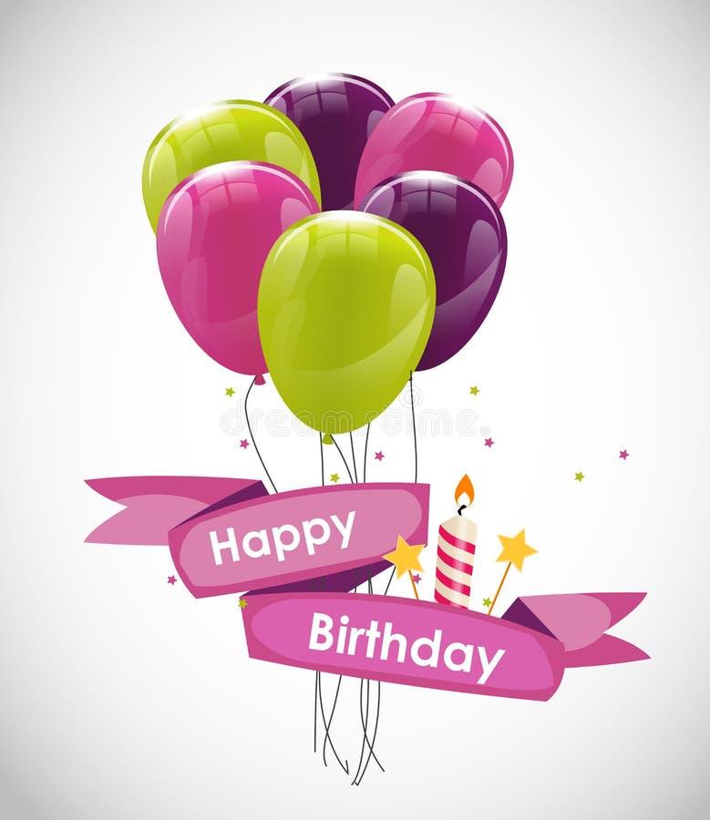 Färben Sie glatten alles- Gute zum Geburtstagballon-Fahnen-Hintergrund-Vektor IL vektor abbildung