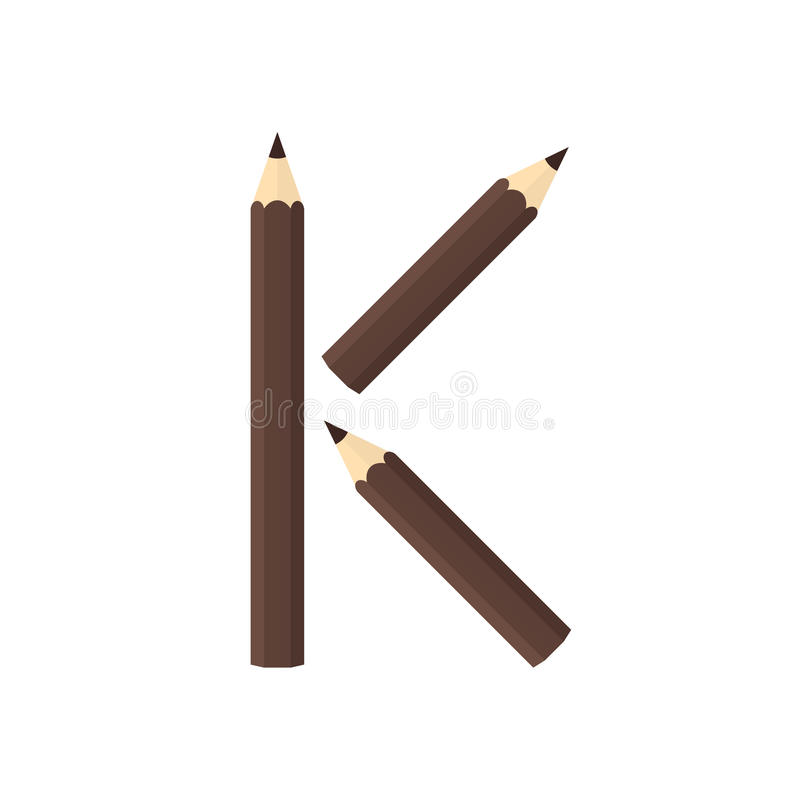 Färben Sie hölzernes Bleistiftkonzept durch Rearrange die Buchstaben K stock abbildung