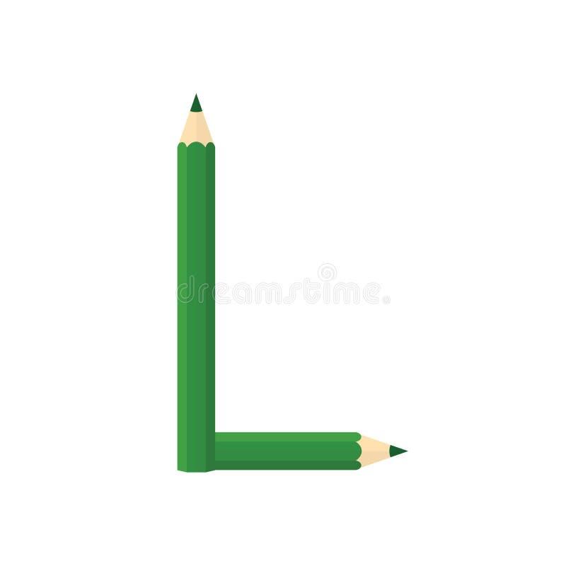 Färben Sie hölzernes Bleistiftkonzept durch Rearrange die Buchstaben L lizenzfreie abbildung