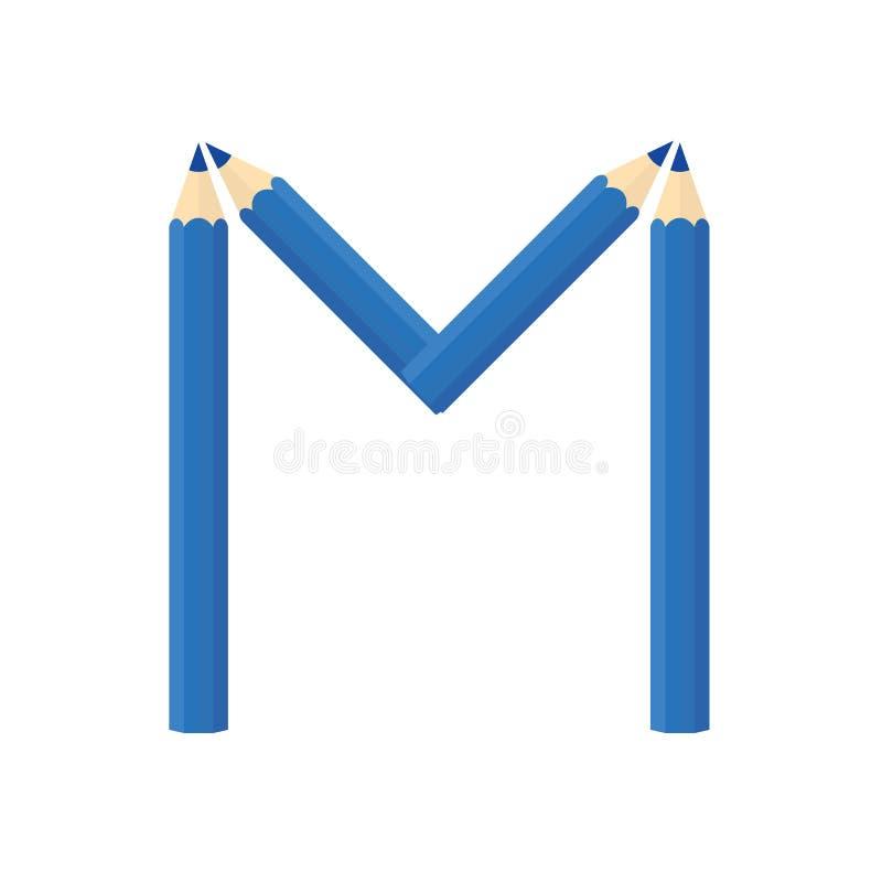 Färben Sie hölzernes Bleistiftkonzept durch Rearrange die Buchstaben M lizenzfreie abbildung