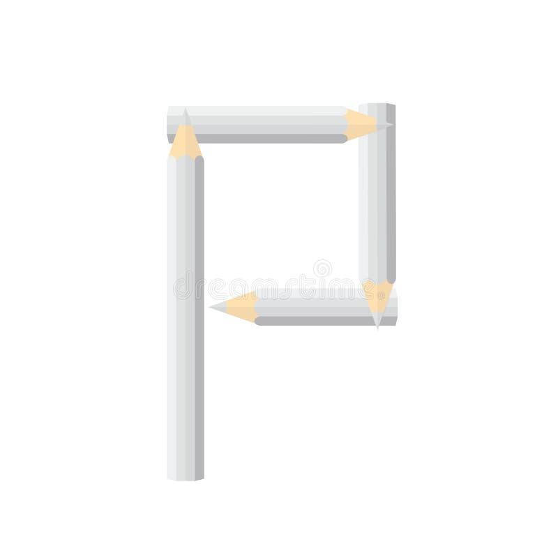 Färben Sie hölzernes Bleistiftkonzept durch Rearrange die Buchstaben P lizenzfreie abbildung