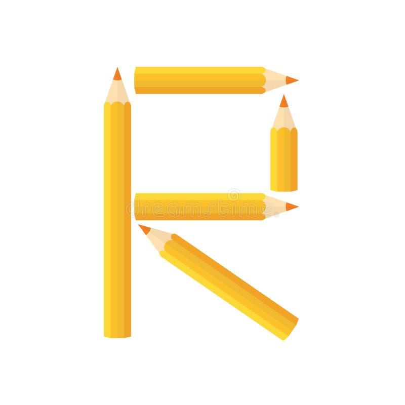 Färben Sie hölzernes Bleistiftkonzept durch Rearrange die Buchstaben R stock abbildung