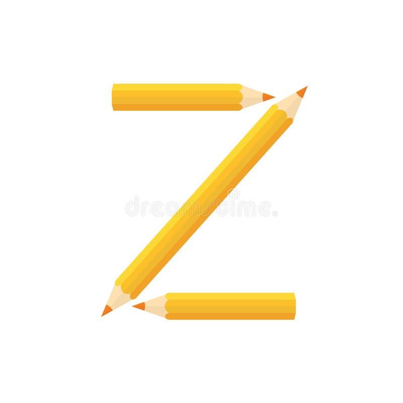 Färben Sie hölzernes Bleistiftkonzept durch Rearrange die Buchstaben Z stock abbildung