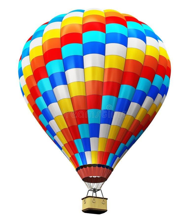 Färben Sie Heißluftballon Lokalisiert Auf Weißem Hintergrund Stock ...
