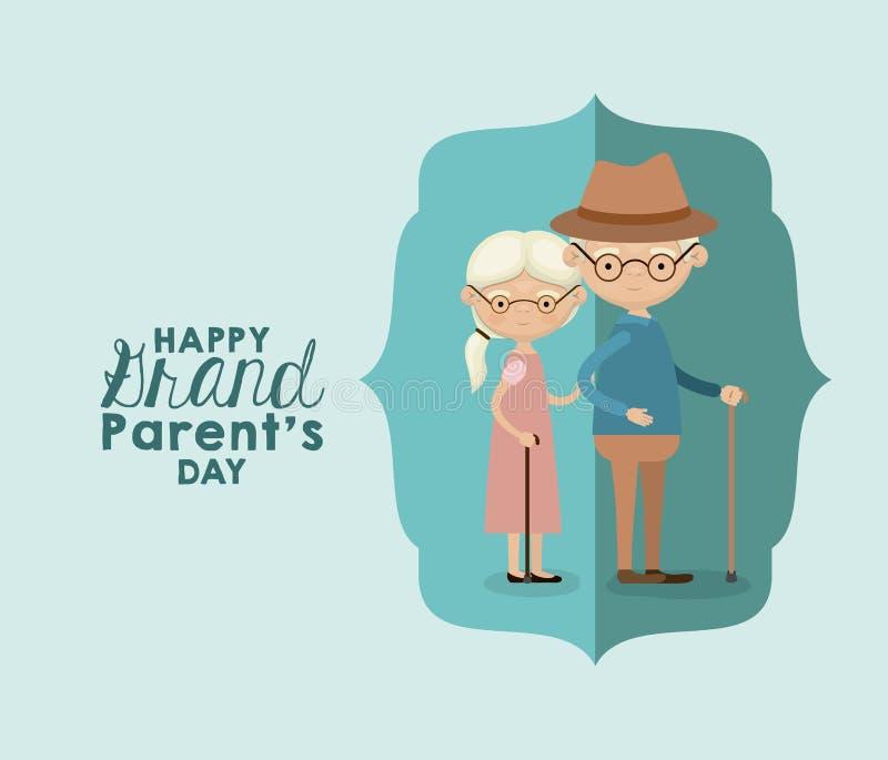 Färben Sie Hintergrund der Zahl blaue Grußkarte des Papiers mit Großeltern-Tagestext der vollen Paare des Körpers der Karikatur ä lizenzfreie abbildung