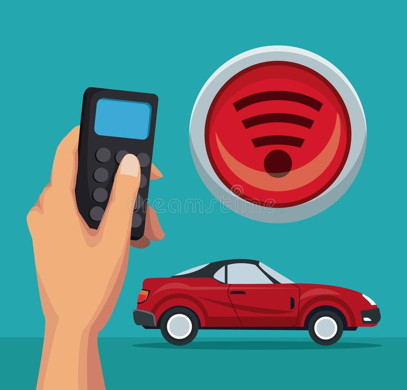 Färben Sie Hintergrund des konvertierbaren Autos und der Fernbedienung des Sports mit Knopfradioapparat stock abbildung
