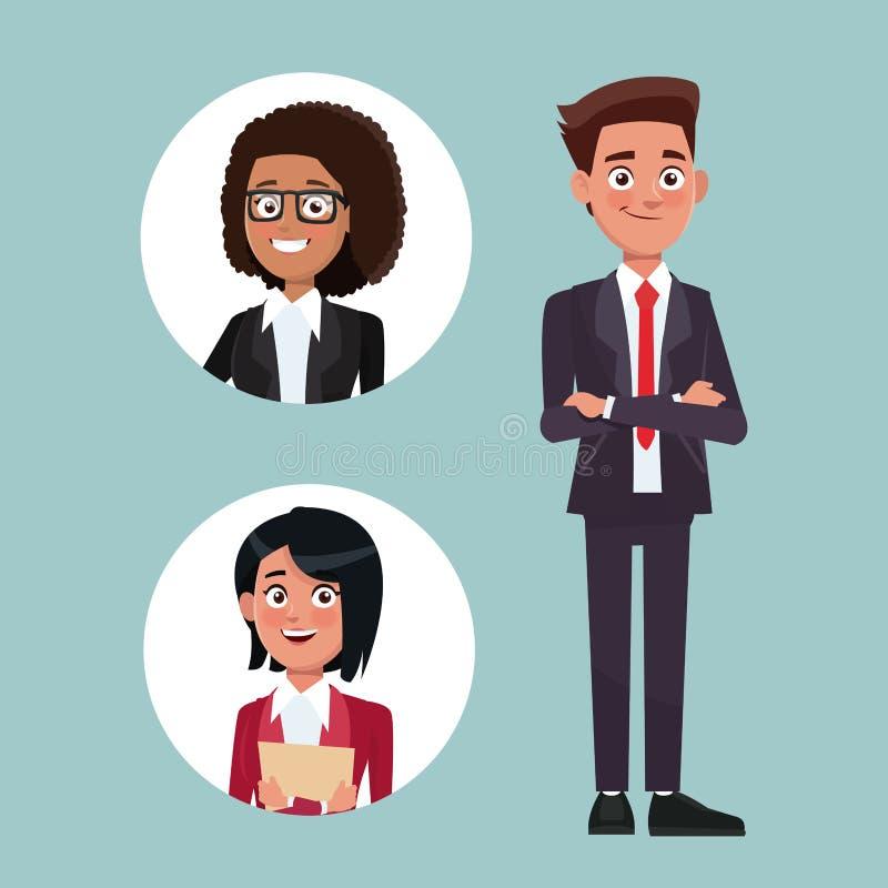 Färben Sie Hintergrund mit Exekutivmann mit Gesellschaftsanzug und Kreisrahmen mit Frauencharakteren für Geschäft vektor abbildung