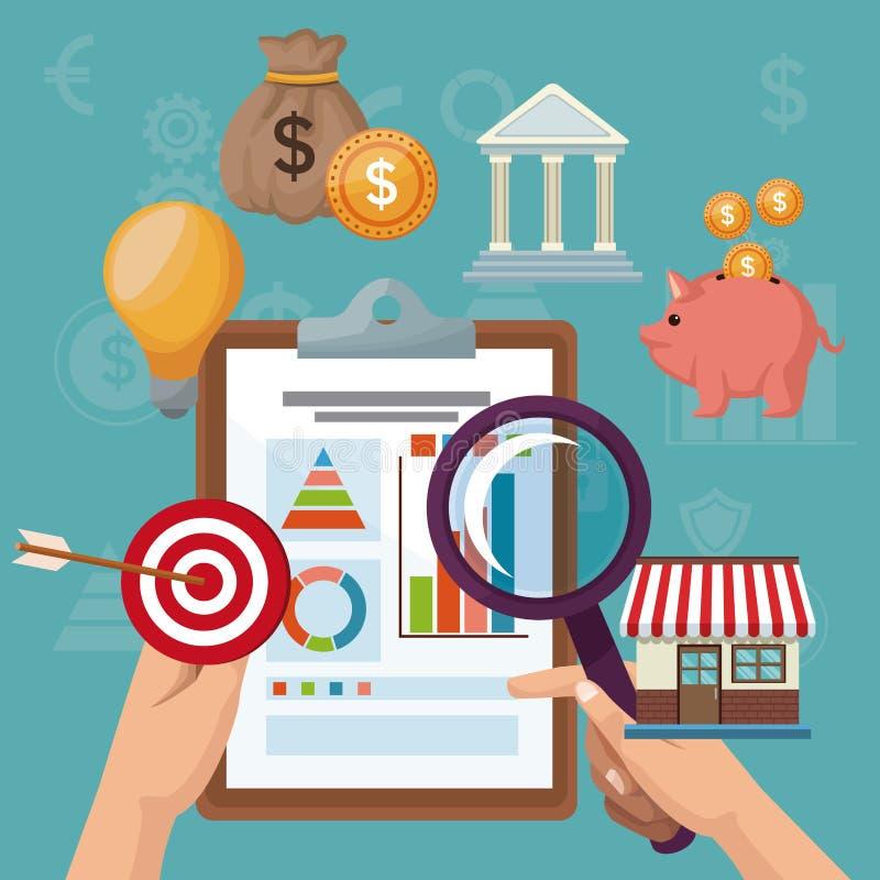 Färben Sie Hintergrundanalytik-Investition mit der Hand, die Statistik- und Ikonenwirtschaft eines Tabellenblattes hält lizenzfreie abbildung