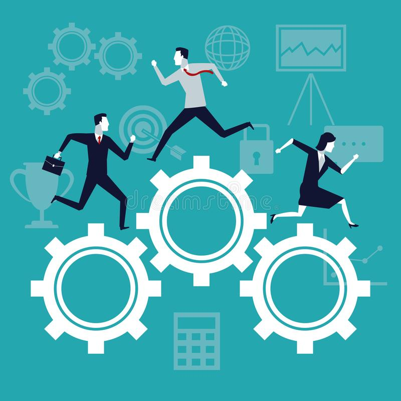 Färben Sie Hintergrundgeschäftswachstum mit den Geschäftsleuten, die in Mechanismusgänge laufen vektor abbildung