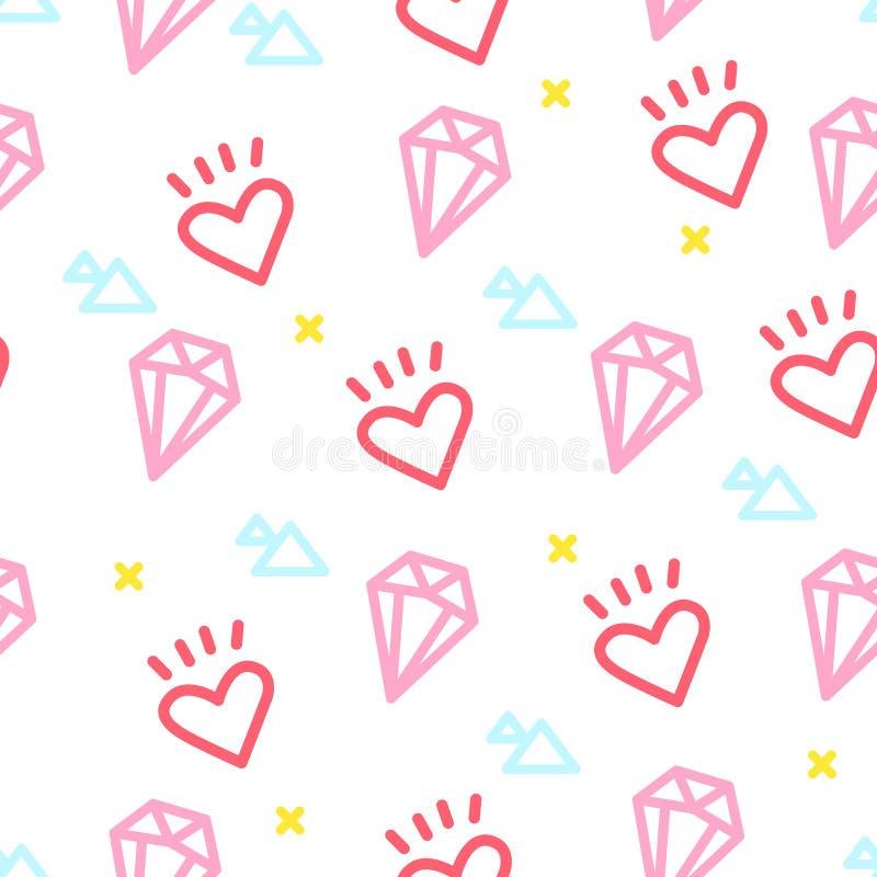 Färben Sie Hippie-Muster mit Herzen, Diamanten und Dreieck auf weißem Hintergrund Verzierung für Gewebe und die Verpackung Vektor vektor abbildung