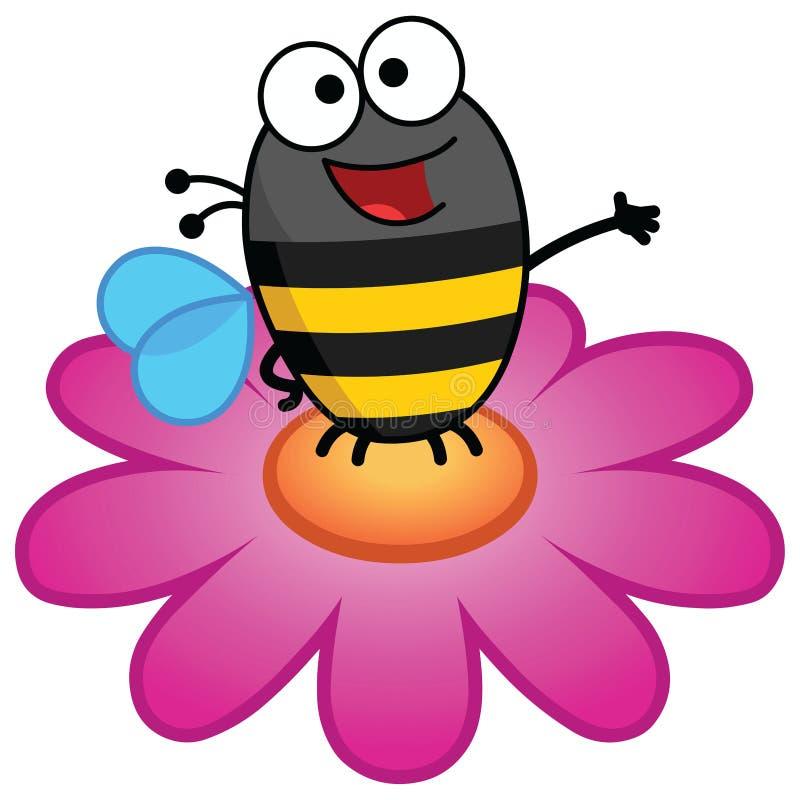 Biene, die auf einer Blume in der Farbe steht lizenzfreie stockfotos
