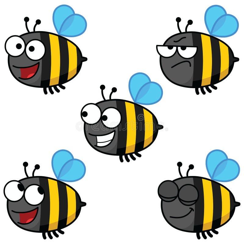 Satz Karikatur Biene-Farbe stockbilder