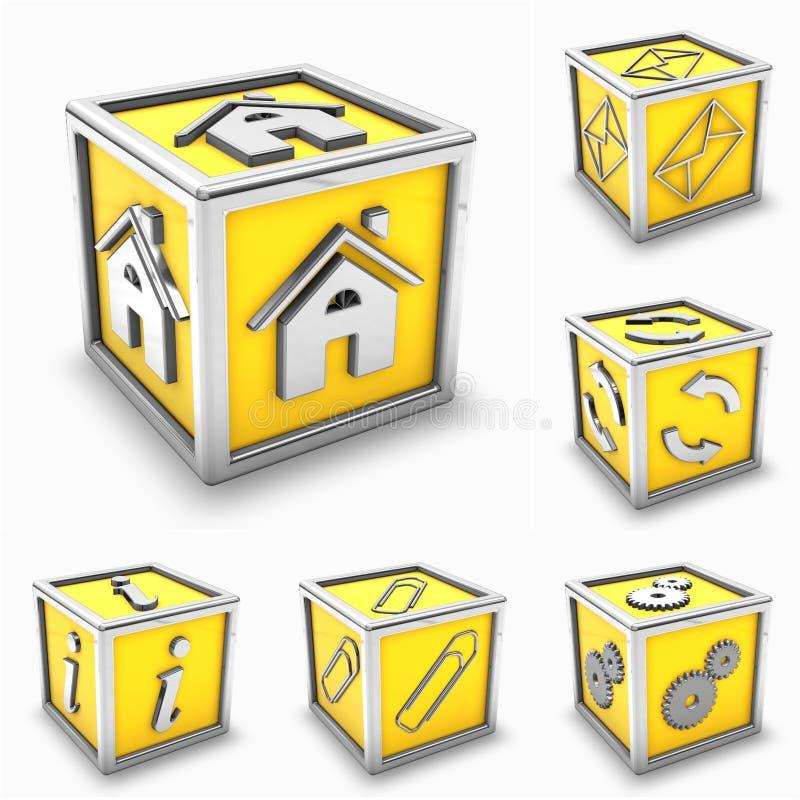 Färben Sie Kastenikonenset gelb vektor abbildung