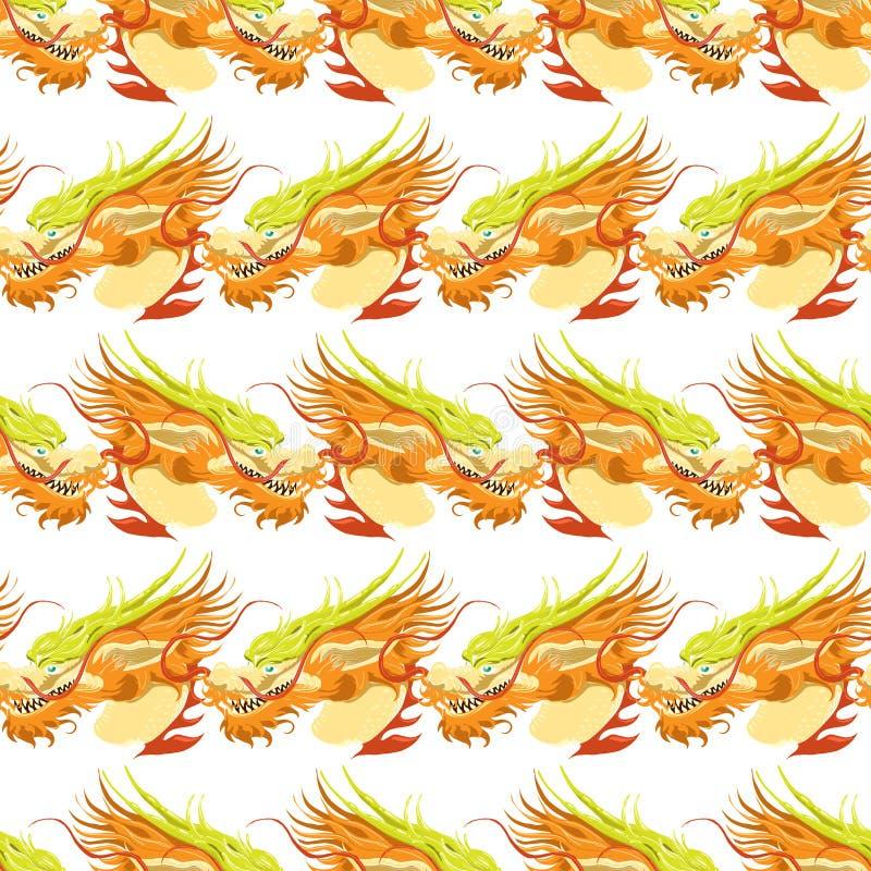 Färben Sie nahtloses Muster des chinesischen Drachen lizenzfreie abbildung