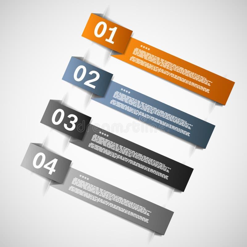 Färben Sie Papierschablonen für Fortschritt oder Versionen vor vektor abbildung