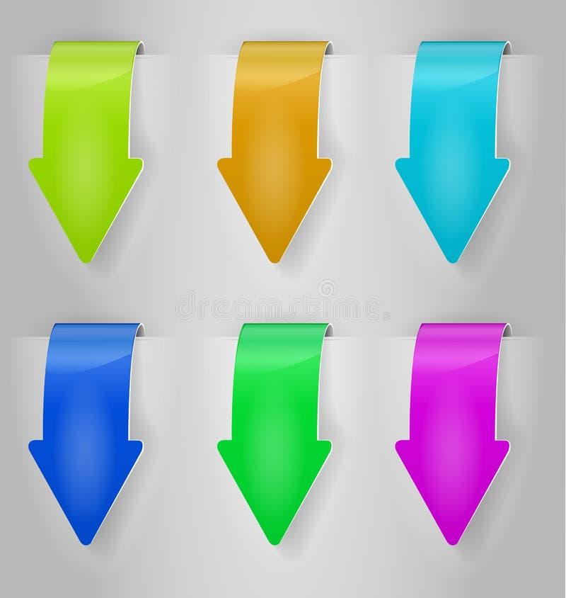 Färben Sie Pfeilaufkleberset stock abbildung