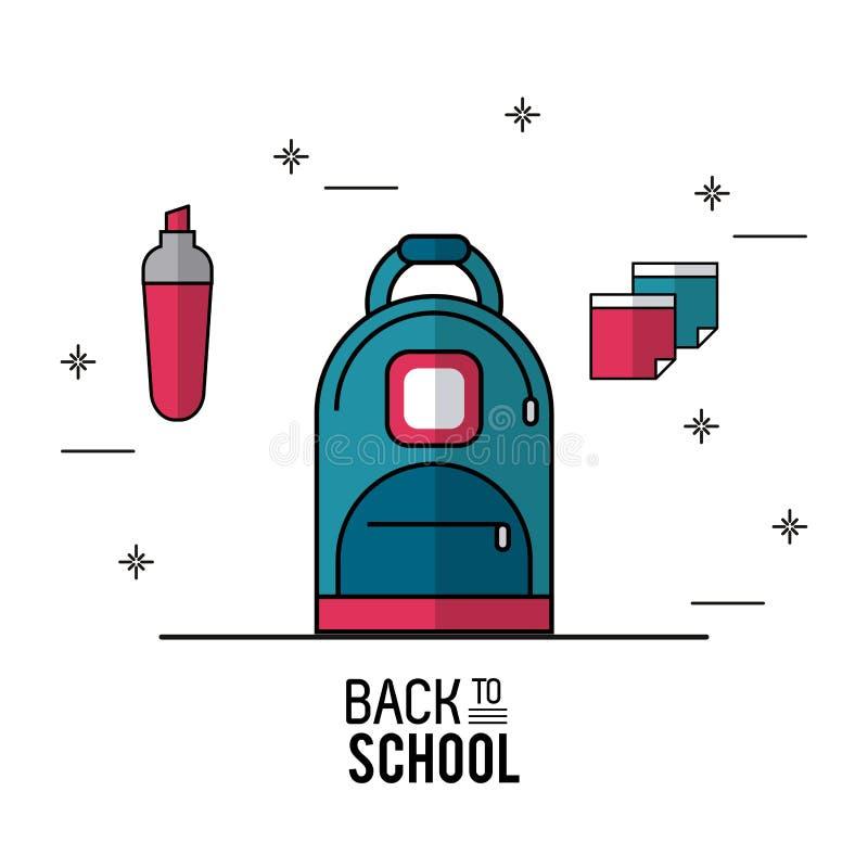 Färben Sie Plakat Zurück Zu Der Schule Mit Rucksack In Der ...