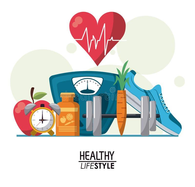 Färben Sie Plakatelemente mit Blasen und Herzschlagrhythmus mit gesundem Lebensstil des Elementsports lizenzfreie abbildung