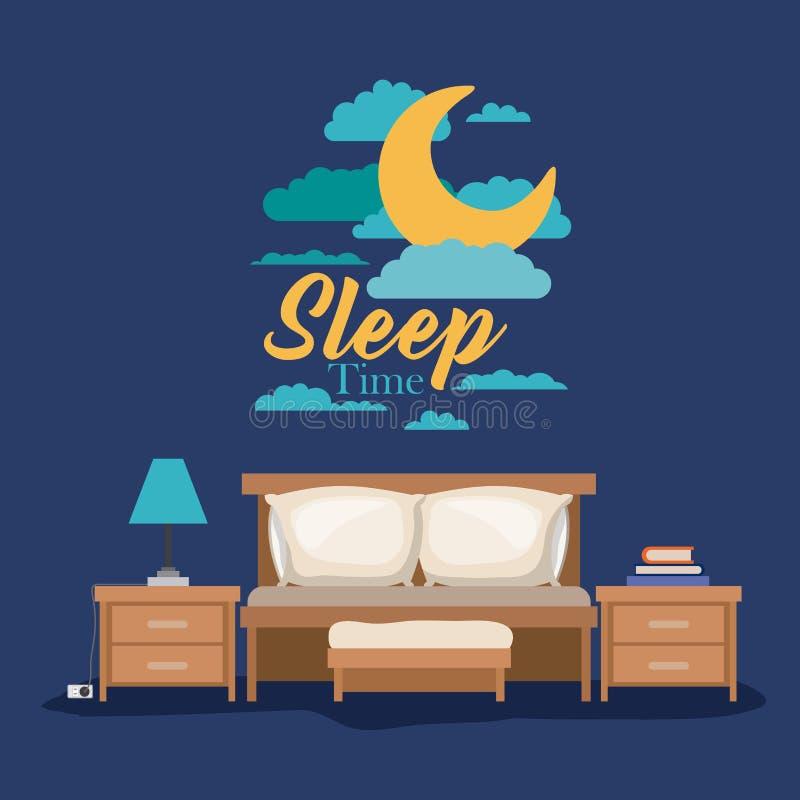 Färben Sie Plakatszenen-Nachtlandschaft der Schlafzimmerschlafzeit lizenzfreie abbildung