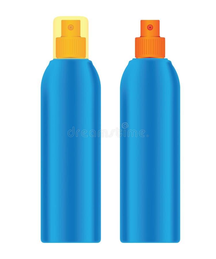 Färben Sie Plastikflasche (cosmo runde Art) mit feiner Nebel mit Rippen versehenem Sprüher für Kosmetik vektor abbildung