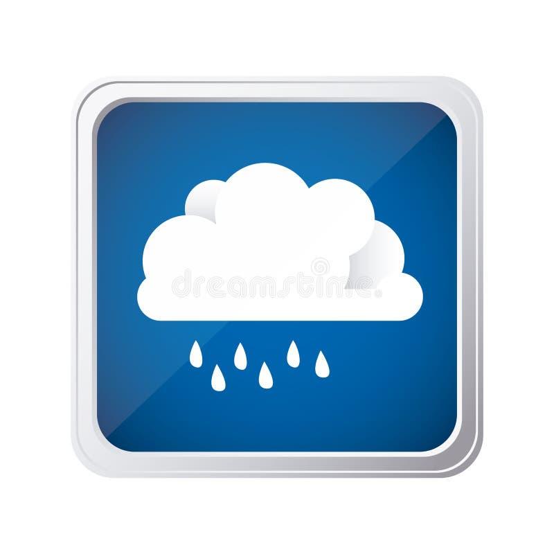 färben Sie quadratischen Rahmen und blauen Hintergrund mit Wolke mit Nieselregen stock abbildung